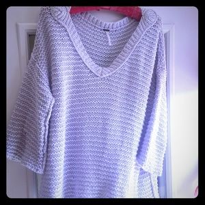 Free People Large 3/4 Sleeve Lilac Sweater💜🌼